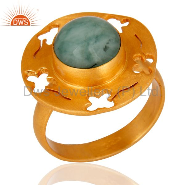 Natural Emerald Gemstone 18K Gold Plated Sterling Silver Ring Handmade in India