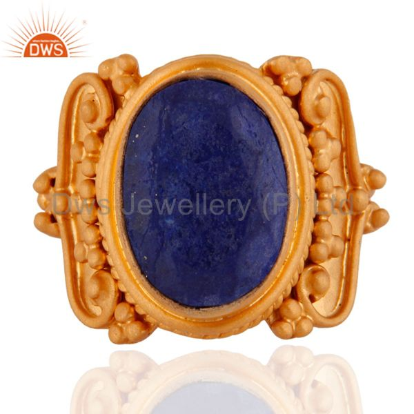 Third Eye Chakra GGemstone Lapis Lazuli 18k Yellow Gold Plated 925 Silver Ring