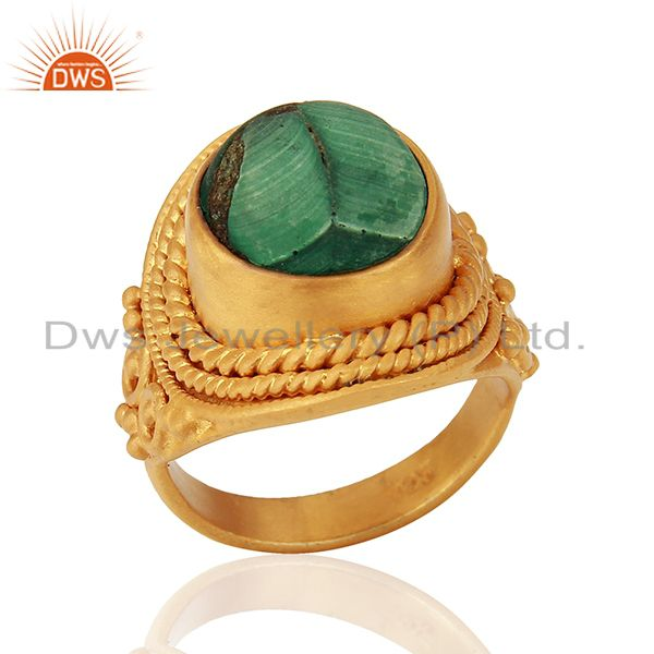 Designer Gold Plated Silver Malachite Gemstone Rings Manufacturer