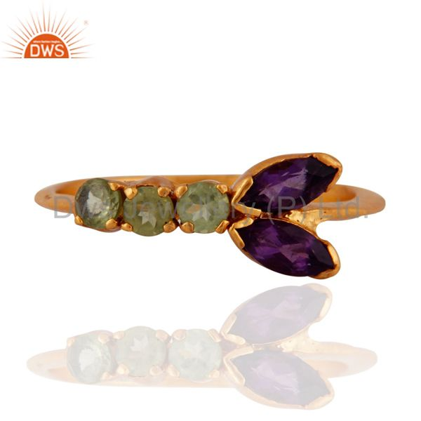 Peridot And Amethyst 925 Sterling Silver Ring With Yellow Gold Plated