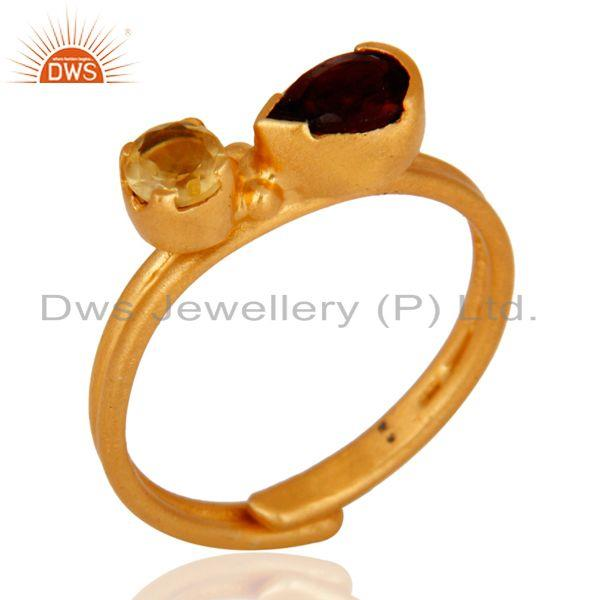 Handmade Gold Plated Sterling Silver Garnet And Citrine Gemstone Adjustable Ring