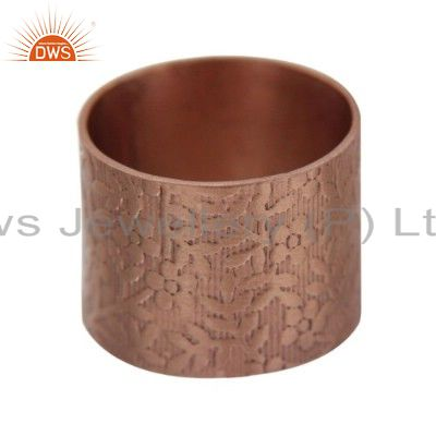 22K Gold Plated Brass Floral Design Engraved Wide Band Ring