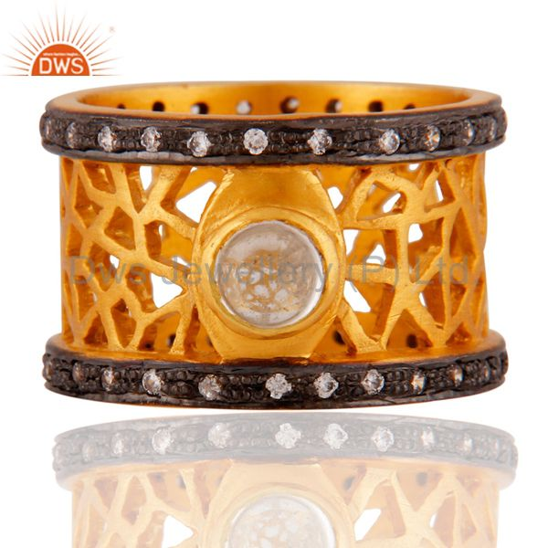 Natural Crystal Qaurtz 22k Yellow Gold Plated Filigree Wide Band Ring With CZ