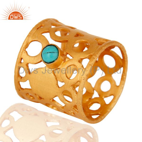 18k Yellow Gold On Brass Turquoise Gemstone Filigree Designer Fashion Band Ring