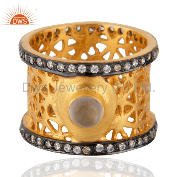 New Designer Crystal Quartz 24ct Gold Plated Filigree Designer Wedding Band Ring