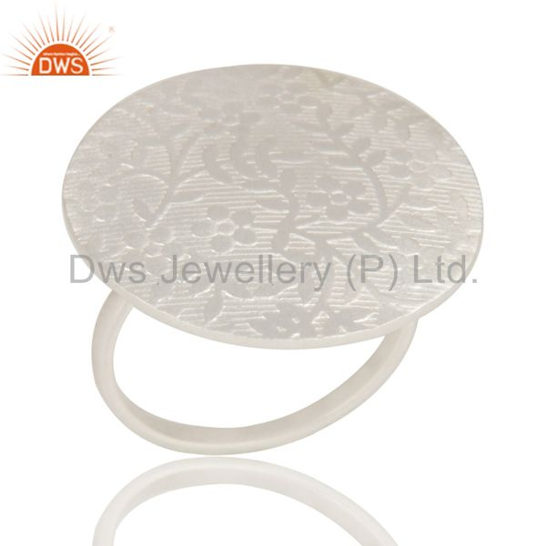 Handmade Silver Plated Brass Floral Engraved Set Of 3 Cocktail Ring