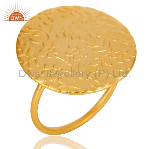 Textured Flower Carving 18k Gold Plated Brass Cocktail Ring