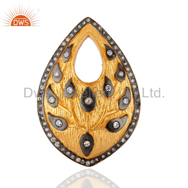 New Collection 24k Yellow Gold Plated Flower & Leaf Designer White Zircon Ring