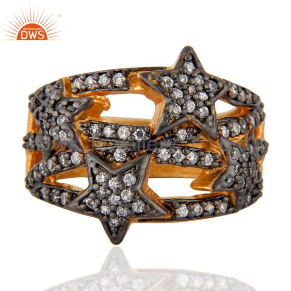 24k Yellow Gold Plated Zircon Diamond Pave Star Designer Ring Fashion cz Jewelry