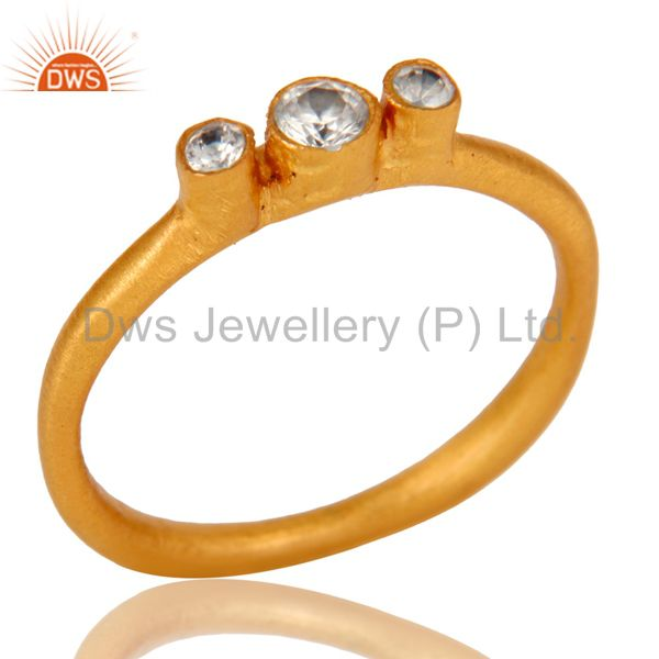 18K Yellow Gold Plated Brass Three Stone Cubic Zirconia Stacking Ring