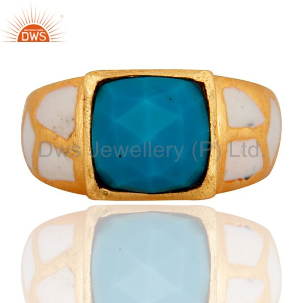 18k Yellow Gold Finish Sky Blue Turquoise Gemstone Enamel Inlay Designer Ring