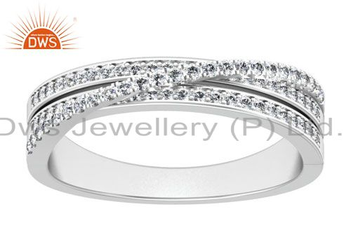 Round Cut Natural Diamond 18K Solid White Gold Engagement Ring