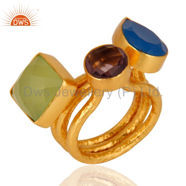 Aqua Blue Chalcedony And Hydro Amethyst 22K Gold Plated Hammered Band Ring
