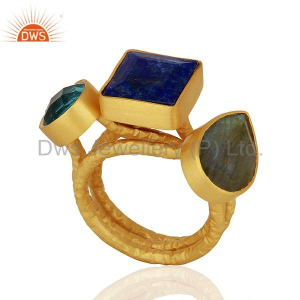 Gold Plated Brass Fashion Gemstone Rings Jewelry Manufacturer