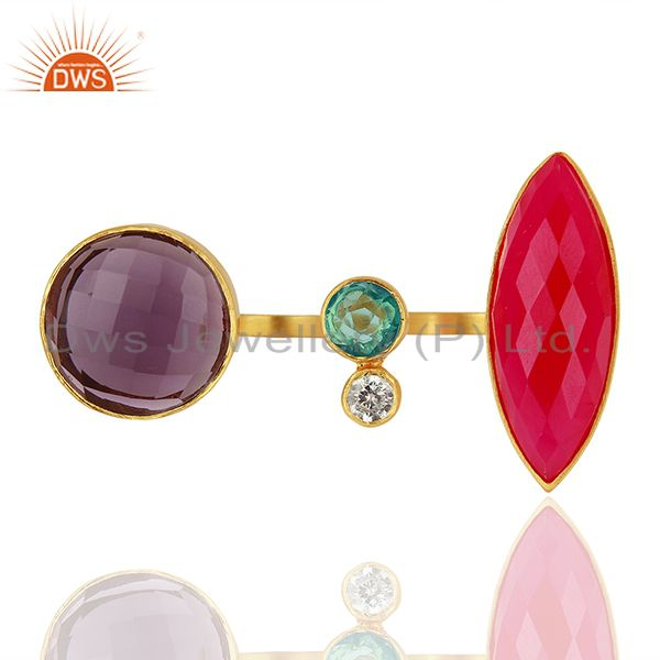 Hydro Gemstone Gold Plated Brass Fashion Ring Jewelry Supplier