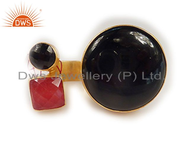 22K Yellow Gold Plated Brass Black Onyx And Red Aventurine Open Centered Ring