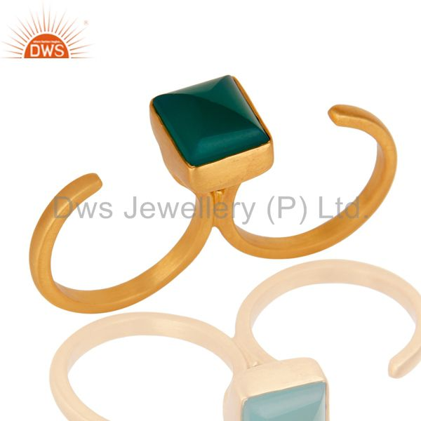 18K Yellow Gold Plated Brass Green Onyx Double Finger Open Ring