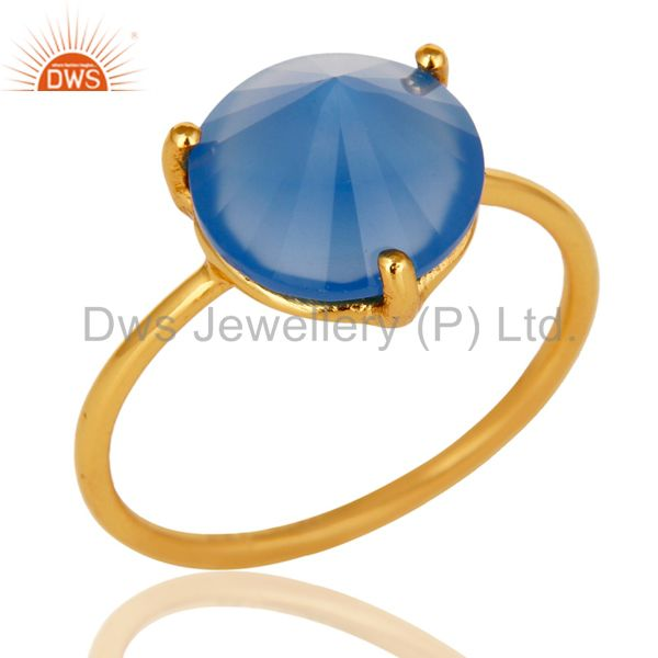 22K Yellow Gold Plated Sterling Silver Blue Chalcedony Gemstone Stackable Ring