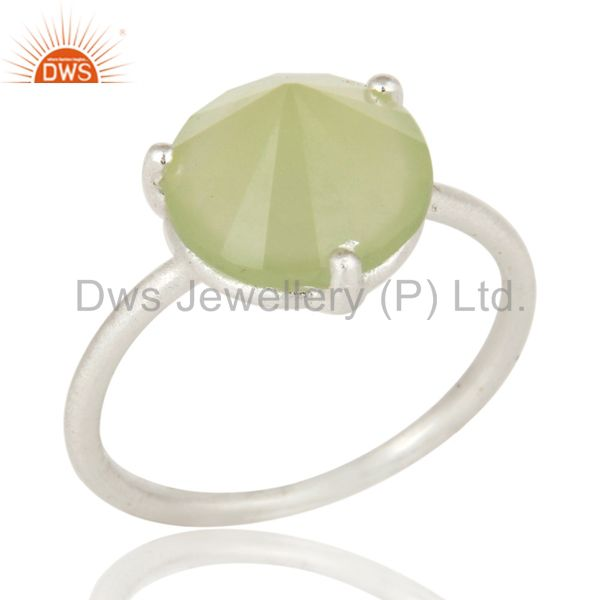 Prong Set Green Chalcedony Gemstone Sterling SIlver Stackable Ring