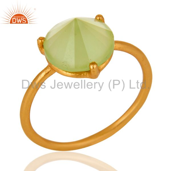 14K Gold Plated 925 Sterling Silver Pointed Design Chalcedony Ring Jewelry