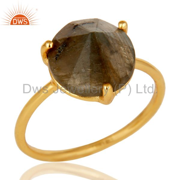 22K Yellow Gold Plated Sterling Silver Labradorite Gemstone Stackable Ring