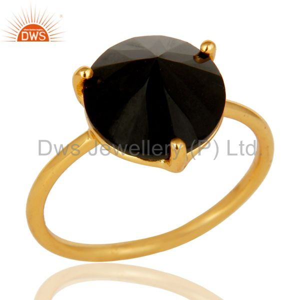 Natural Semi Precious Stone Black Onyx 925 Sterling Silver 18k Gold Plated Ring