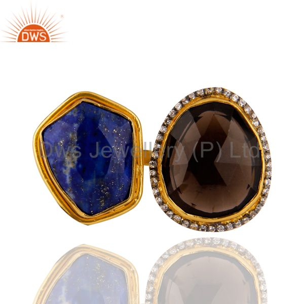 Lapis Lazuli And Smoky Quartz Gemstone Adjustable Ring Made In 22K Gold On Brass