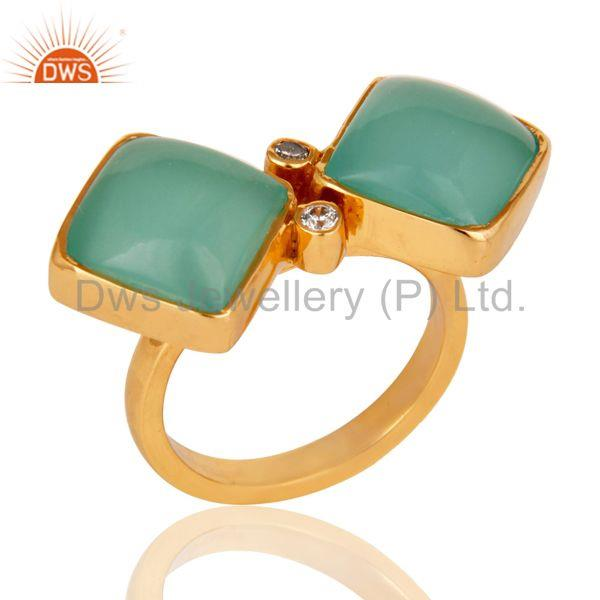 Glass Aqua and Zircon 18K Gold Plated Fashion Ring