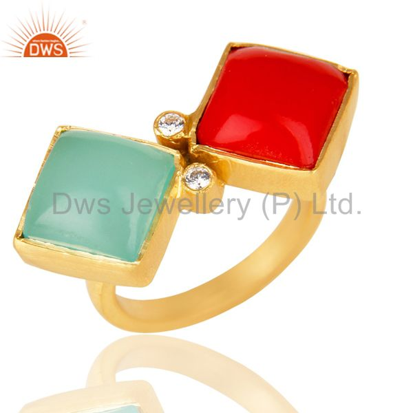 Handmade Red Coral And Aqua Blue Chalcedony Ring Made In 18K Gold Over Brass