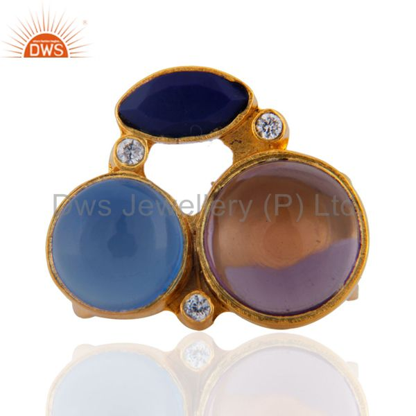 Amethyst, Lapis Lazuli And Aqua Blue Chalcedony Ring Made In 22K Gold Over Brass