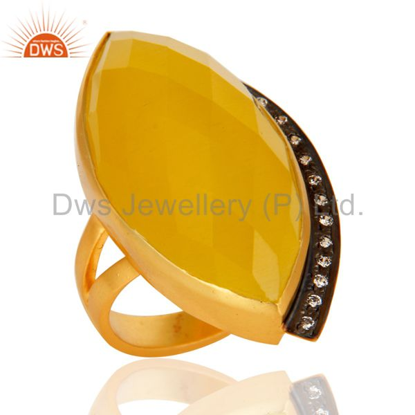 18K Yellow Gold Plated Brass Yellow Moonstone Fashion Statement Ring With CZ