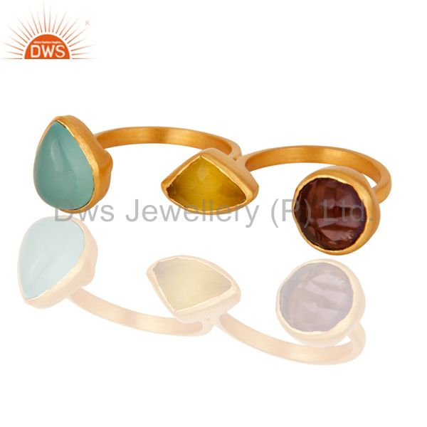 Aqua Chalcedony, Moonstone And Hydro Double Finger Ring In 22K Gold Over Brass