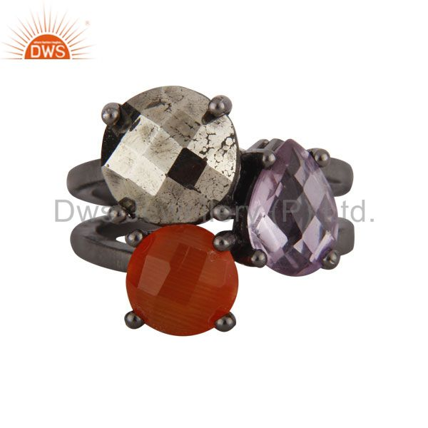 Peach Moonstone, Amethyst And Pyrite Oxidized Sterling Silver Prong Set Ring