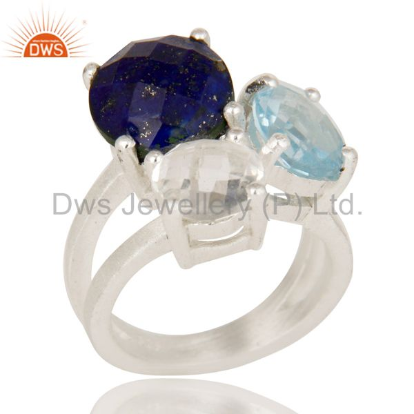 Blue Topaz, Crystal Quartz And Lapis Lazuli Cluster Ring Made In Sterling Silver
