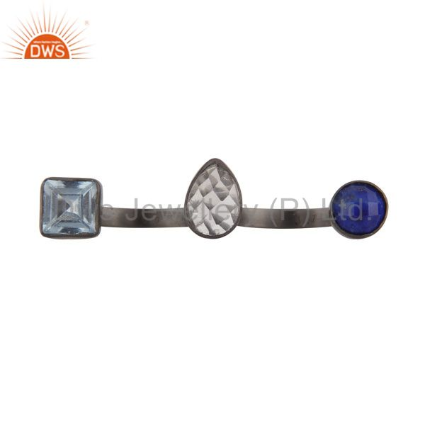 Oxidized Silver Blue Topaz, Lapis Lazuli And crystal Quartz Triple Stone Ring