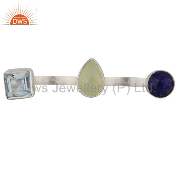 Green Chalcedony, Blue Topaz And Lapis Lazuli Triple Gemstone 925 Silver Ring