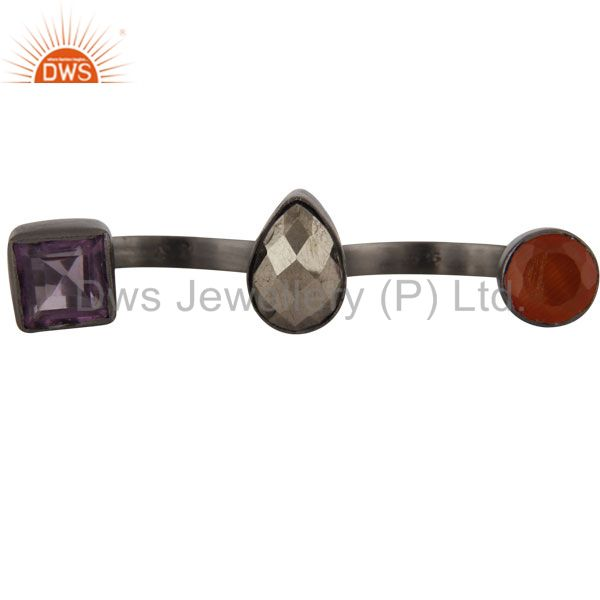 Carnelian, Amethyst And Pyrite Open Double Finger Ring In Oxidized 925 Silver