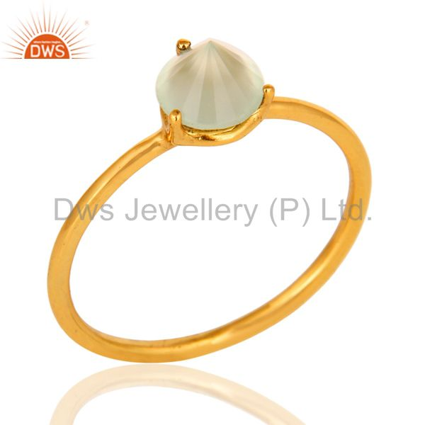 14K Yellow Gold Plated Sterling Silver Green Chalcedony Prong Set Stacking Ring