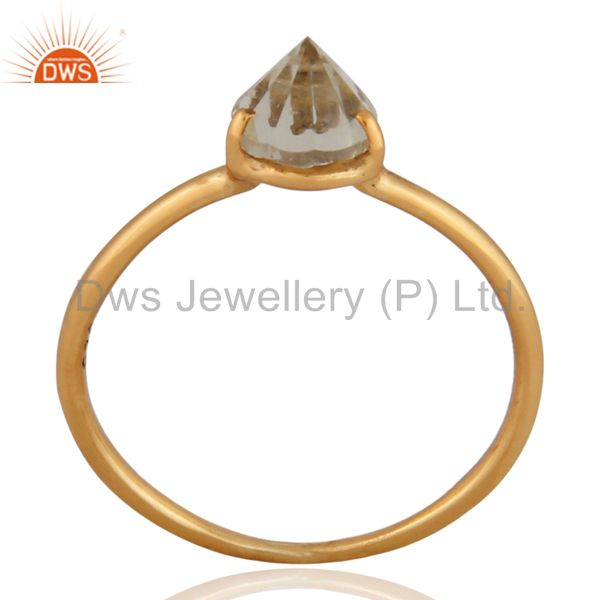 14K Yellow Gold Plated Sterling Silver Prong Set Crystal Quartz Stacking Ring