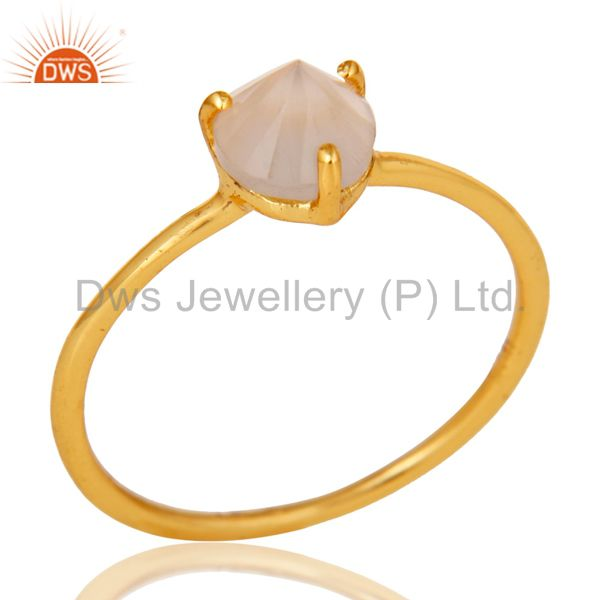 14K Yellow Gold Plated Sterling Silver Prong Set Rose Chalcedony Stacking Ring