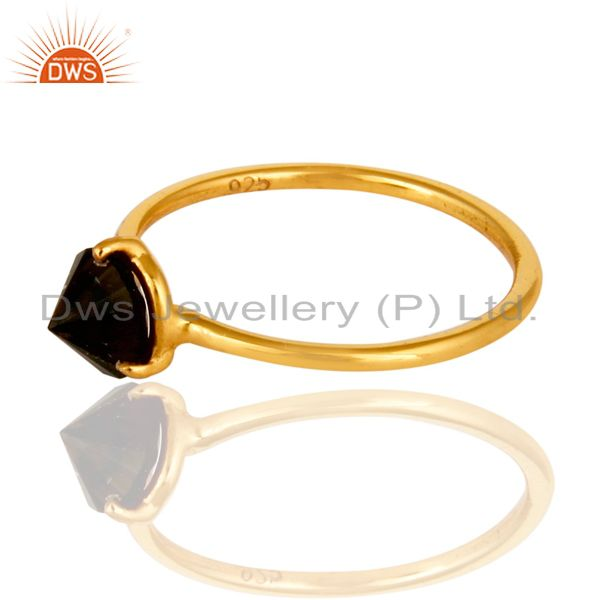 14K Yellow Gold Plated Sterling Silver Smoky Quartz Prong Set Stacking Ring