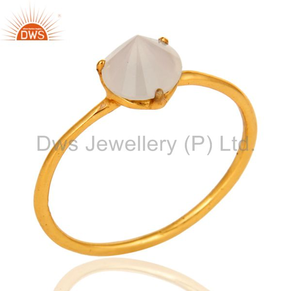 925 Sterling Silver Yellow Gold Plated White Chalcedony Ring Size 7