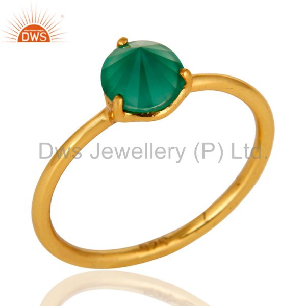 14K Yellow Gold Plated Sterling Silver Prong Set Green Onyx Stacking Ring