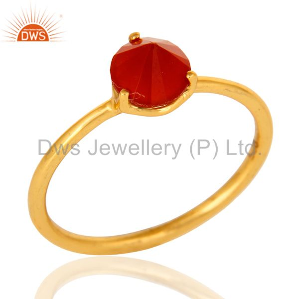 14K Gold Plated Sterling Silver Prong Set Red Onyx Gemstone Stacking Ring