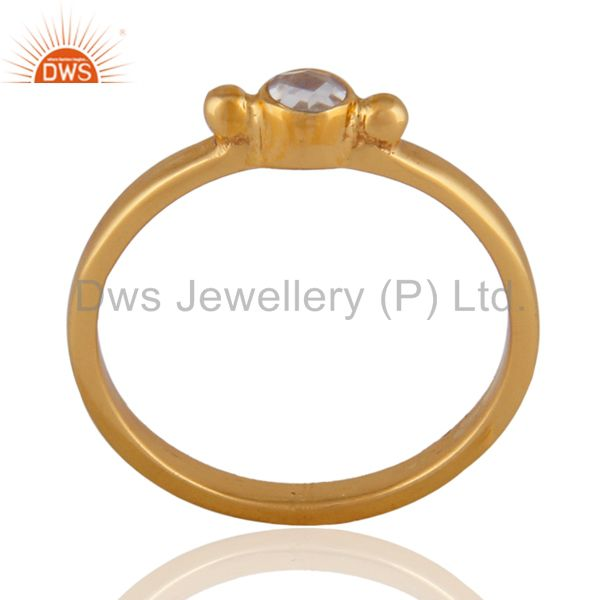 22K Yellow Gold Plated Sterling Silver Crystal Quartz Stackable Ring