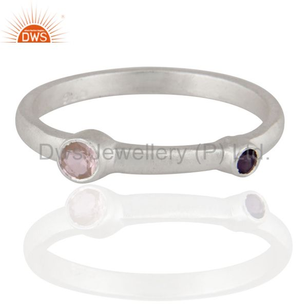 925 Sterling Silver Amethyst And Rose Quartz Gemstone Designer Ring