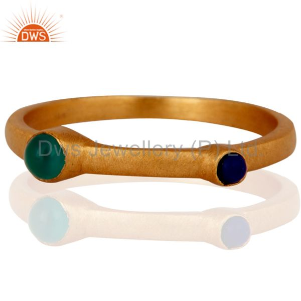 18K Gold Plated Sterling Silver Green Onyx And Lapis Lazuli Gemstone Ring