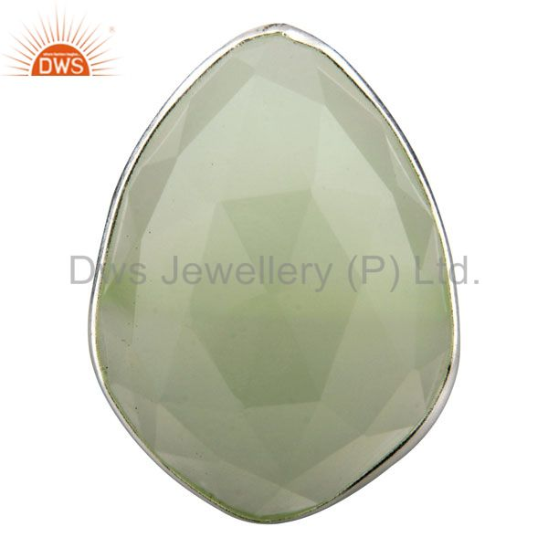 925 Solid Sterling Silver Faceted Green Chalcedony Bezel Set Stack Ring