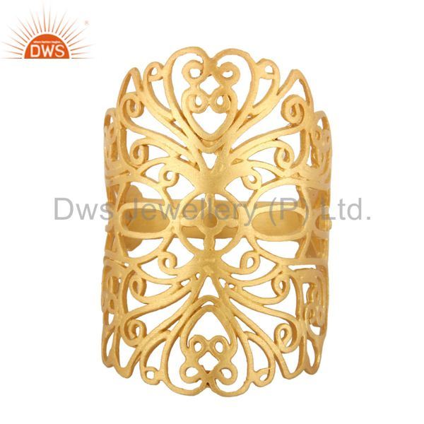 18K Yellow Gold Plated Sterling Silver Filigree Long Midi Finger Knuckle Ring
