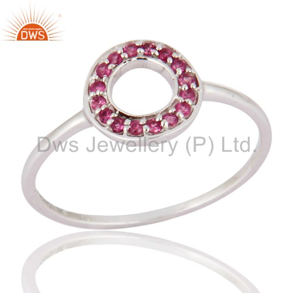 Natural Pink Sapphire Gemstone 9K White Gold Stacking Ring